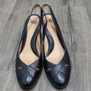 SOFFT Black Sling Back Leather Heels